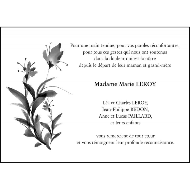 Carte de remerciements d c s 105 x 150 dessin fleur aquarelle - Dessin de fleur en noir et blanc ...